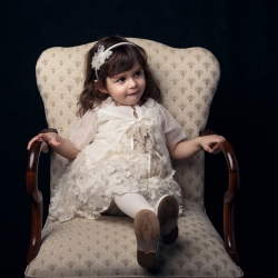 Christening Baptism Athens Greece Studio Portrait Girl Chair